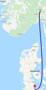 Kartenausschnitt mit der Fährverbindung zwischen Kiel und Norwegen
