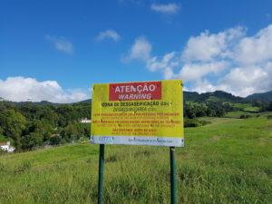 CO2-Warnschild Caldeiras auf São Miguel, Azoren