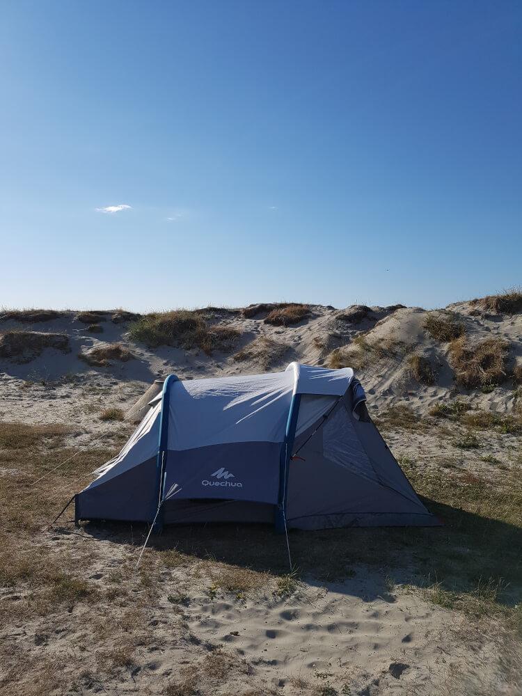 Zelten in den Dünen des Olberg Zeltplatzes